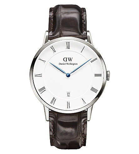 DANIEL WELLINGTON 1122DW Dapper York silver and leather watch (White