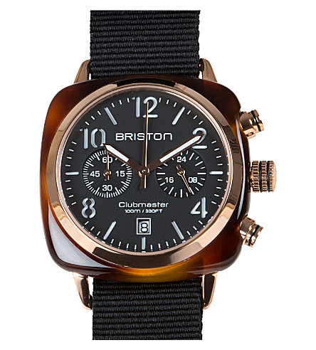 BRISTON Clubmaster chronograph date watch 14140.pra.t.1.nb (Black