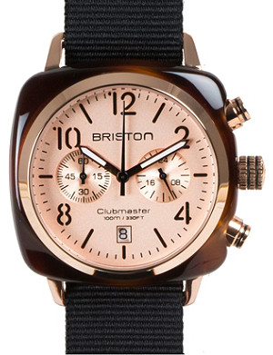 BRISTON Clubmaster champagne chronograph watch 14140.pya.t.7.nb