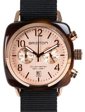 BRISTON Clubmaster champagne chronograph watch 14140.pya.t.7.nb