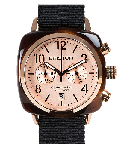BRISTON Clubmaster champagne chronograph watch 14140.pya.t.7.nb (Gold