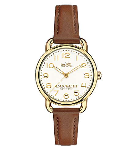 COACH 14502248 dalaney gold-plated stainless steel and leather watch