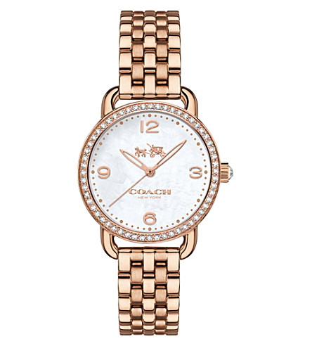 COACH 14502479 delancey stainless steel and mother of pearl watch