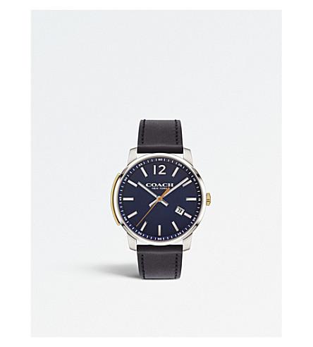 COACH 14602343 布利克薄不锈钢和皮革手表