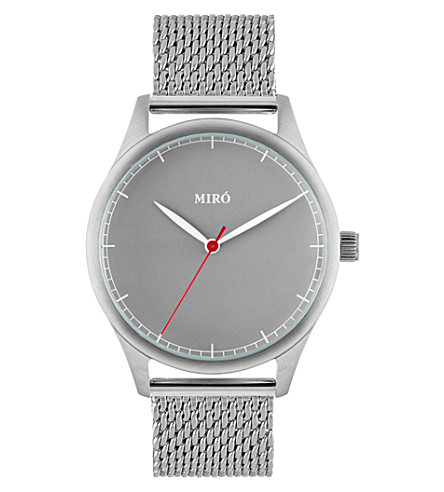 MIRO Classic stainless steel and leather watch