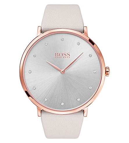BOSS Quartz grey dial cream strap