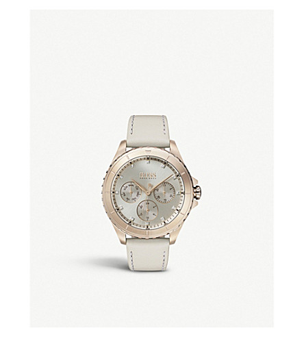 BOSS 1502447 Premiere rose gold-plated and leather watch