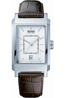 HUGO BOSS 1512227 stainless steel leather strap watch