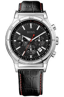 HUGO BOSS 1512584 stainless steel and leather chronograph watch