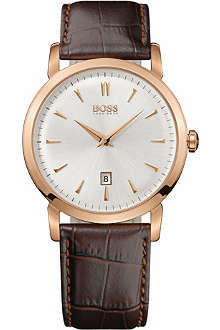 HUGO BOSS 1512634 gold-plated and leather watch