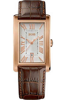 HUGO BOSS 1512710 rose-gold plated stainless steel leather watch