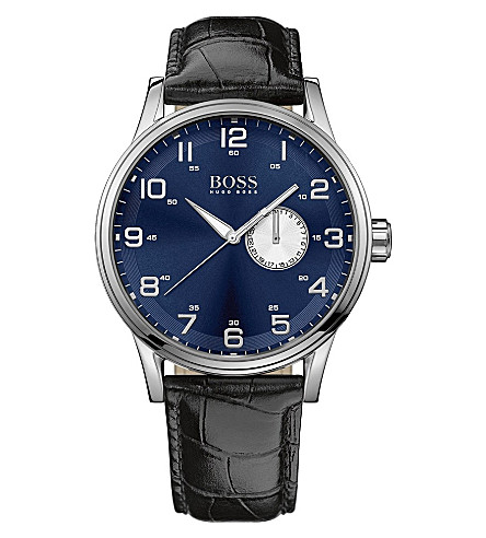 HUGO BOSS 1512790 stainless steel and leather watch (Blue