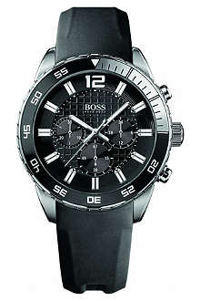 HUGO BOSS 1512804 stainless steel and rubber chronograph watch
