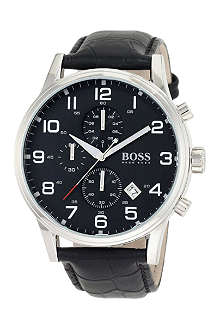 HUGO BOSS 1512833 stainless steel and leather watch