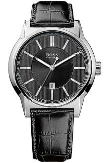HUGO BOSS 1512911 stainless steel watch with crocodile embossed strap