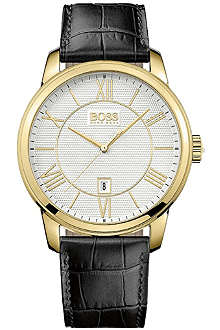 HUGO BOSS 1512972 gold-toned plated stainless steel and leather watch