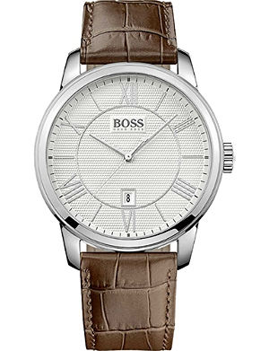 HUGO BOSS 1512973 Stainless steel crocodile embossed strap
