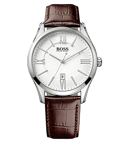 BOSS 1513021 ambassador watch with leather strap (Silver