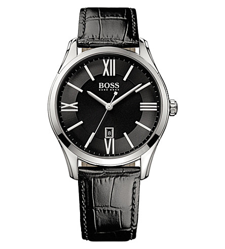 BOSS 1513022 ambassador watch with leather strap (Black