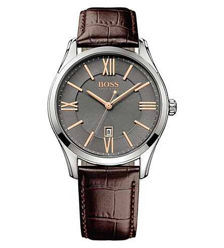 BOSS 1513041 ambassador watch with leather strap (Brown