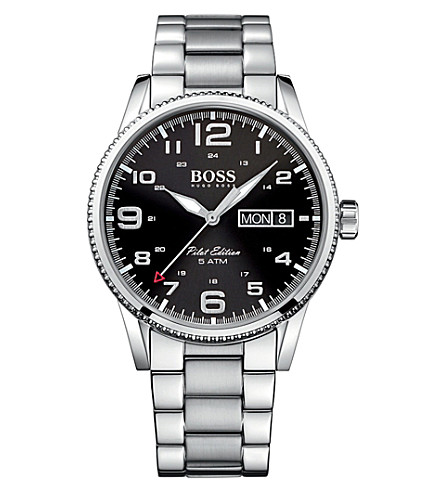 BOSS 1513327 pilot stainless steel watch