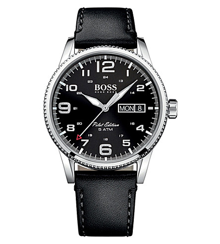 BOSS 1513330 pilot stainless steel and leather watch