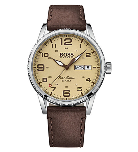 BOSS 1513332 pilot stainless steel and leather watch