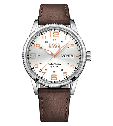 BOSS 1513333 pilot stainless steel and leather watch