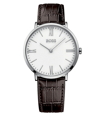 BOSS Jackson brown leather watch