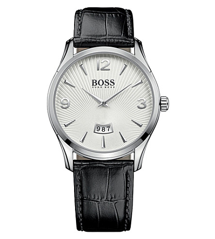 BOSS Commander stainless steel and leather watch