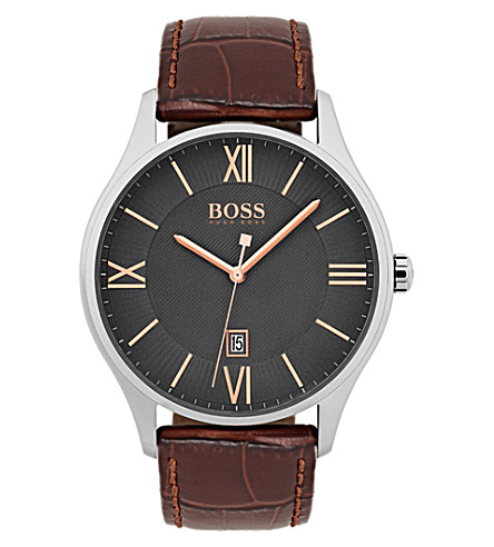 BOSS 1513041 Governor stainless steel and leather watch