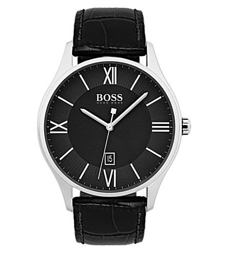 BOSS 1513485 Quartz stainless steel alligator leather strap watch