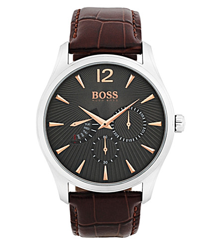BOSS 1513490 Commander stainless steel and leather watch