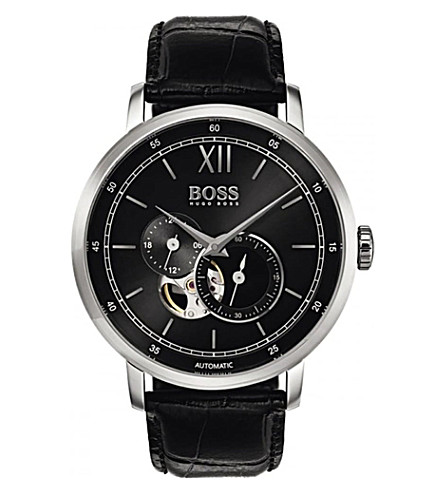 BOSS 1513504 automatic stainless steel and leather strap watch