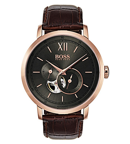 BOSS 1513504 automatic rose-gold and leather strap watch