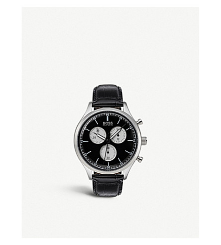 BOSS 伴侣皮革和不锈钢计时腕表