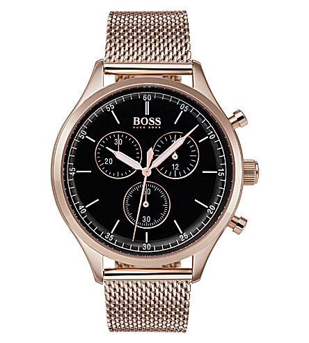 BOSS Companion rose-gold plated stainless steel watch