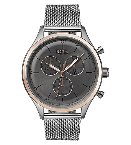 BOSS Companion stainless steel and rose-gold chronograph watch