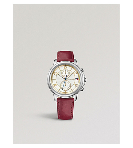 TOMMY HILFIGER 1781816 Claudia stainless steel leather strap chronograph watch