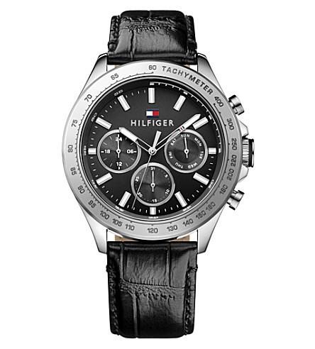 TOMMY HILFIGER 1791224 HUDSON 鳄鱼效果皮革手表 (黑色