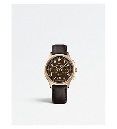 TOMMY HILFIGER 1791387 Emerson stainless steel and leather watch
