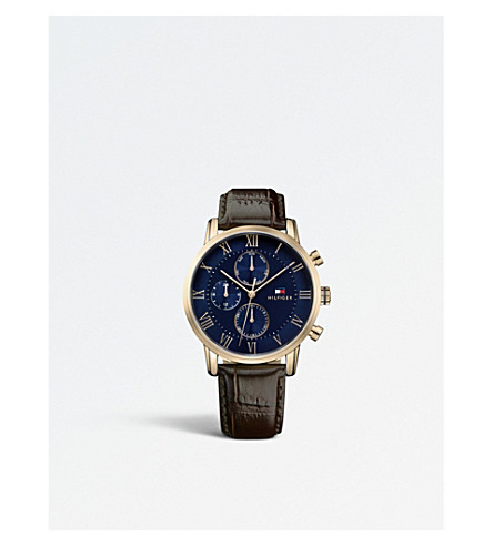 TOMMY HILFIGER 1791399 Kane PVD gold-plated leather watch