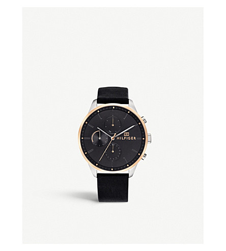 TOMMY HILFIGER 1791488 Chase stainless steel, rose-gold plated and leather watch