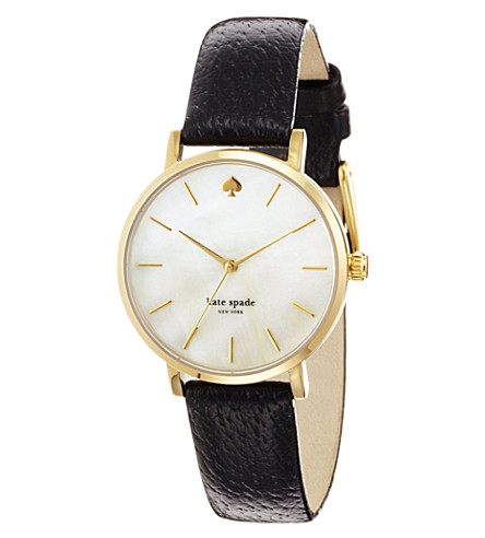 KATE SPADE Metro gold-plated metal and leather watch (White
