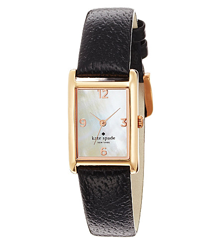 KATE SPADE 1YRU0043 Cooper stainless steel and leather watch (Black