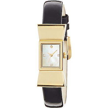 KATE SPADE 1YRU0068 Carlyle stainless steel and leather watch (Black
