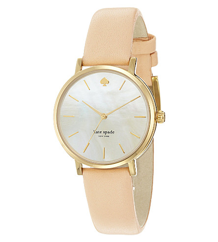 KATE SPADE 1YRU0073 Metro stainless steel and leather watch (Champagne