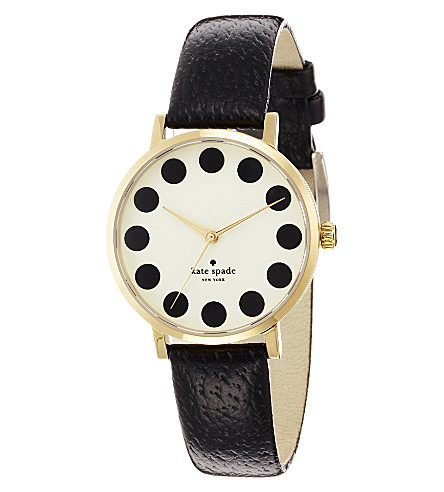 KATE SPADE 1YRU0107 Metro stainless steel and leather watch (Black