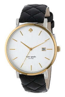 KATE SPADE Metro Grand gold-plated metal and leather watch