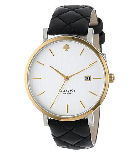 KATE SPADE Metro Grand gold-plated metal and leather watch (Black